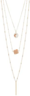 Panacea Layered Chain & Stone Pendant Necklace