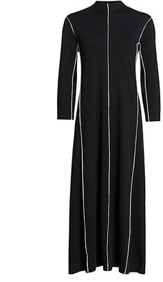 Joan Vass Contrast-Trim Maxi Dress