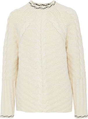 Line Embroidered Cable-knit Sweater