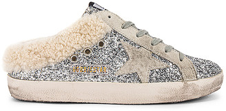 Golden Goose Sabot Glitter Shearling Slip On