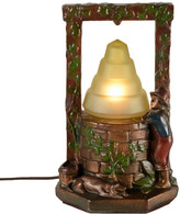Rejuvenation Boy at Wishing Well Radio Lamp C1931