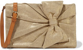 RED Valentino Small leather-trimmed metallic canvas shoulder bag