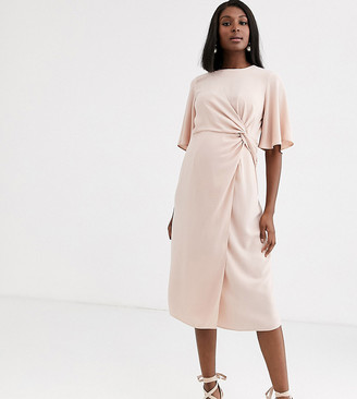Asos DESIGN Maternity twist front midi dress with angel sleeve in navy