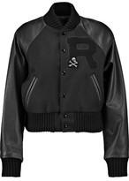 R 13 Wool-Blend Paneled Appliquéd Textured-Leather Jacket