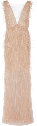 Marchesa Feathered Tulle Maxi Gown