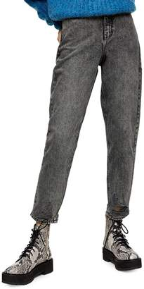 Topshop Grey Rip Mom Jeans 32-Inch Leg