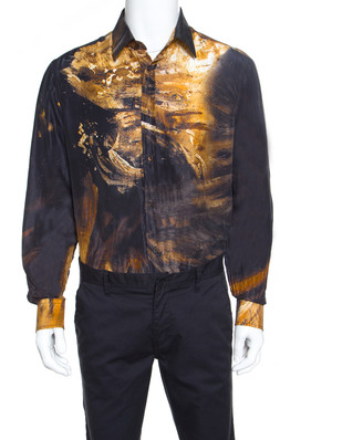 Just Cavalli Multicolor Silk Abstract Printed Button Front Shirt L