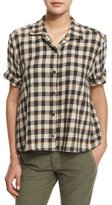 The Great The Bias Short-Sleeve Shirt, Warm Plaid