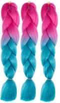 "Pancy 3pcs 24"" Braid Hair Kanekalon Jumbo Ombre Synthetic Braiding Hair Extensions"