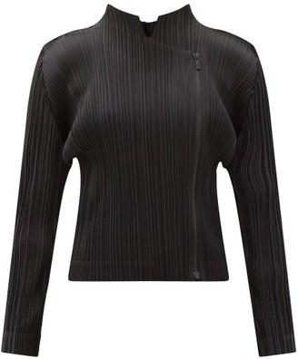 Pleats Please Issey Miyake Asymmetric Zip Technical-pleated Jacket - Black