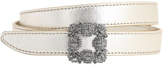 Manolo Blahnik 20mm Hangisi Metallic Leather Belt