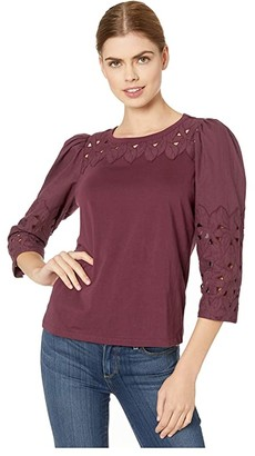 La Vie Rebecca Taylor Long Sleeve Winter Garden Jersey (Mahogany) Women's Blouse