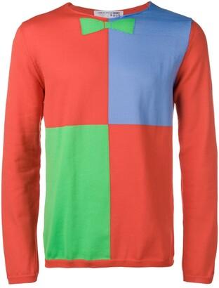 Comme des Garcons Boys Quarter Block Bow Tie knit sweater