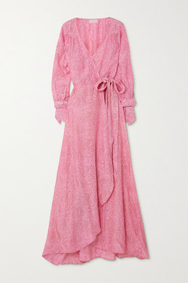 HANNAH ARTWEAR + Net Sustain Luna Paisley-print Silk Crepe De Chine Wrap Maxi Dress - Pink