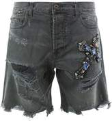 Faith Connexion distressed jewelled cross shorts