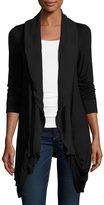 P. Luca Drape-Front Open Cardigan, Black