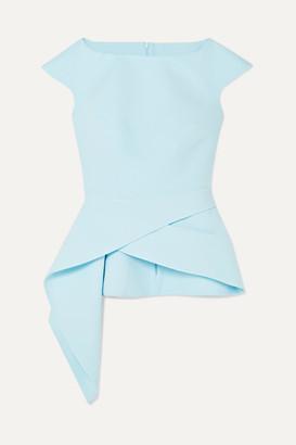 Safiyaa Lillian Asymmetric Stretch-crepe Peplum Top - Light blue