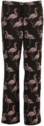 For Restless Sleepers Brown And Pink Flamingo Print Pants