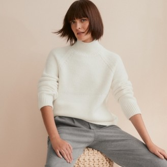 The White Company Stitch Yoke Jumper with Wool, Porcelain, Large