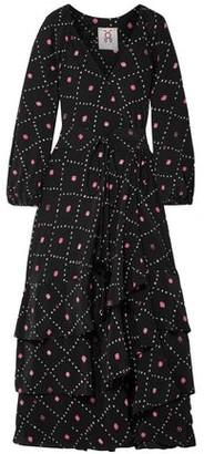 Figue Federica Tiered Printed Silk Crepe De Chine Maxi Dress