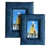 Pandanus photo frames (Pair), 'Natural in Blue'