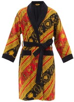 Thumbnail for your product : Versace Baroque-print Cotton-velour Bathrobe - Red Gold