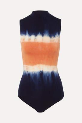 Ninety Percent Net Sustain Rita Tie-dyed Stretch-tencel Bodysuit - Blue