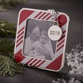 Crate & Barrel Candy Stripe Photo Frame Ornament with 2016 Charm