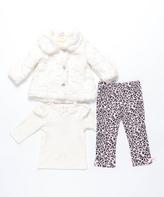 Mini Muffin Ivory & Pink Faux Fur Coat Set