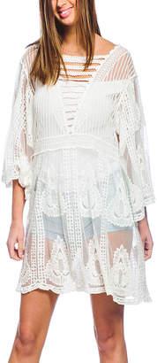 Barrington Women's Swimsuit Coverups WHITE - White Sheer Embroidered Tunic - Women