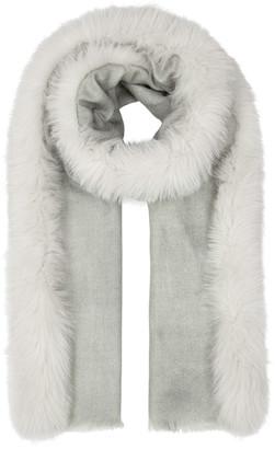 AMA Pure Ash Grey Fur-trimmed Wool Scarf