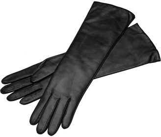 1861 Glove Manufactory Marsala Long - Women's Leather Gloves In Black Nappa Leather