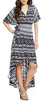 Jessica Simpson Amethyst Printed V-Neck High-Low Wrap Maxi Dress