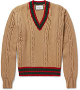 Gucci Slim-Fit Striped Cable-Knit Wool Sweater
