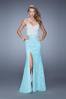 La Femme 21023 Lace and Pearl Accented Trumpet Dress