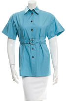 Celine Button-Up Belted Top
