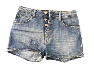 Acquaverde Blue Cotton Shorts for Women