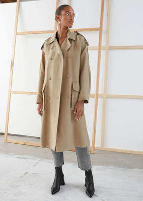 And other stories Belted Linen Blend Trench Coat