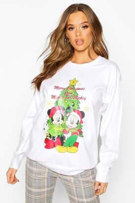 boohoo Disney Merry Christmas from Mickey & Minnie Sweat