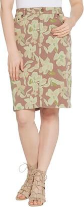 Logo by Lori Goldstein Printed Stretch Twill 5-Pocket Pencil Skirt