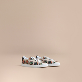 Burberry Pallas Heads Print Cotton Leather Trainers