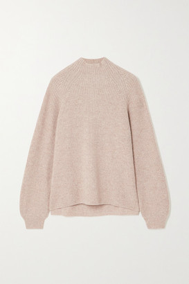 Reformation Georges Ribbed Cashmere Turtleneck Sweater - Beige