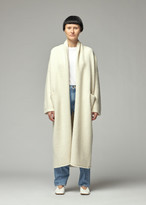 LAUREN MANOOGIAN Women's Long Shawl Cardigan Sweater in White