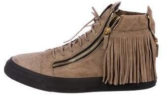 Giuseppe Zanotti Suede Fringe-Trimmed Sneakers