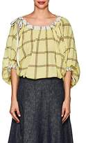 Derek Lam Women's Drawstring Windowpane-Checked Balloon Blouse