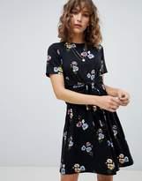 Warehouse Poppy Bunch Twist Front Skater Dress