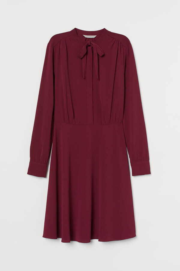 H&M Creped Dress with Ties - Red