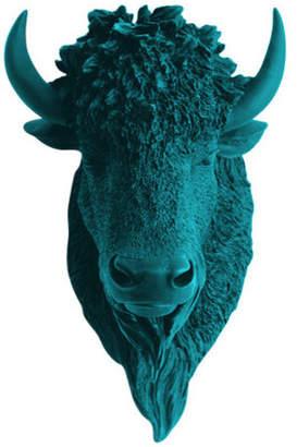 White Faux Taxidermy Faux Bison Animal Head Wall Decor, Petrol