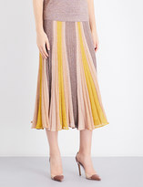 Missoni Pleated metallic-knit midi skirt