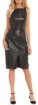 Antonio Melani Koko Front Slit Genuine Leather Dress